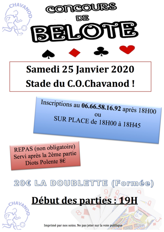 Tournoi de Belote 2020 !