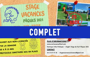 STAGE VACANCES - PÂQUES 2021 : STAGE COMPLET !